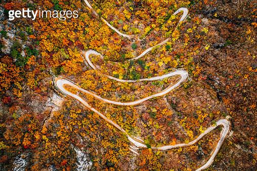 Aerial landscape of Winding Trail To Ganwoljae, Sinbulsan mountain - gettyimageskorea