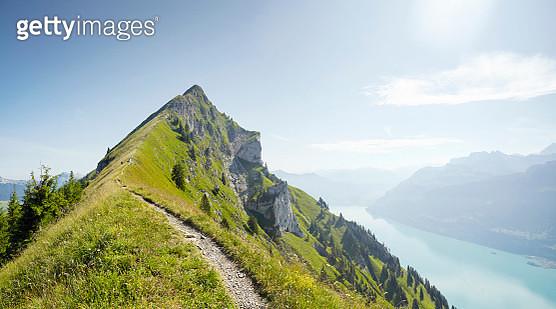 Hiking path along alpine ridge line, Augstmatthorn, Switzerland - gettyimageskorea