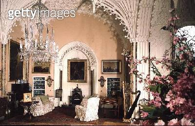 <b>Title</b> : The Saloon, 1760s (photo)Additional Infomodernised in Gothic style by Sir Roger Newdigate; plaster ceiling modelled on vault of<br><b>Medium</b> : <br><b>Location</b> : Arbury Hall, Arbury, Warwickshire, UK<br> - gettyimageskorea