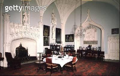 <b>Title</b> : The Dining Room, 1760s (photo)Additional Infomodernised in Gothic style by Sir Roger Newdigate;<br><b>Medium</b> : <br><b>Location</b> : Arbury Hall, Arbury, Warwickshire, UK<br> - gettyimageskorea