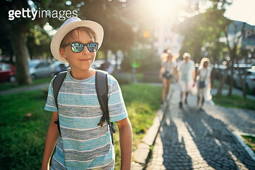 Multi generation family enjoying summer vacations. The family is walking in the city park of Salerno Nikon D850 - gettyimageskorea