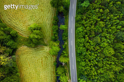 Country road in Sayntal Valley - Westerwald region, Rhineland-Palatinate, Germany - gettyimageskorea