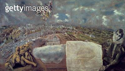 <b>Title</b> : View and Map of the Town of Toledo (oil on canvas) (for detail see 124616)<br><b>Medium</b> : oil on canvas<br><b>Location</b> : Casa y Museo del Greco, Toledo, Spain<br> - gettyimageskorea