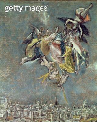 <b>Title</b> : View and Map of the Town of Toledo, detail of angels (oil on canvas) (detail of 124615)<br><b>Medium</b> : <br><b>Location</b> : Casa y Museo del Greco, Toledo, Spain<br> - gettyimageskorea