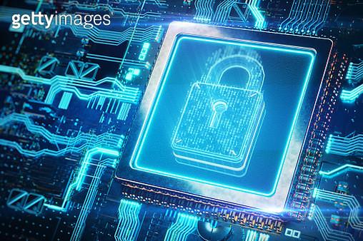 Digital security lock on circuit board - gettyimageskorea