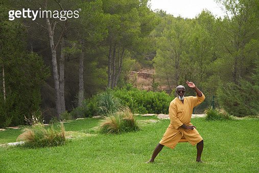 Mature man practises martial arts. - gettyimageskorea