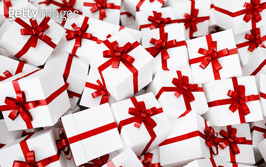 High Angle View Of Gift Boxes - gettyimageskorea