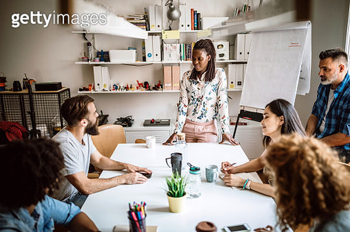 Cheerful Business Team Developing Business Strategy Creatively Sharing Ideas at Board Room - gettyimageskorea