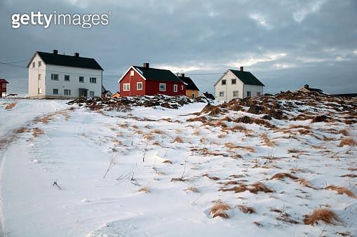Residential buildings and winter landscape at Gamvik, Northern Norway - gettyimageskorea