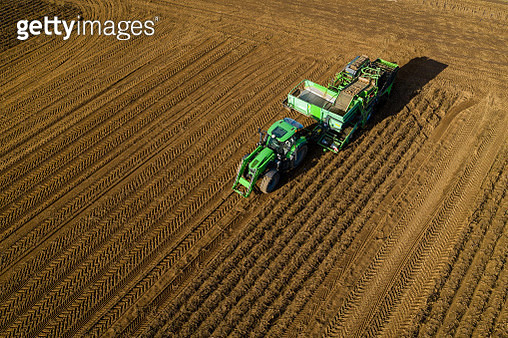 Tractor is used for harvest potatos in a village close to Kongsberg city, Norway. - gettyimageskorea
