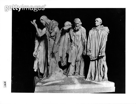 <b>Title</b> : The Burghers of Calais, 1889 (plaster) (b/w photo)Additional Info4th August 1347 end of Siege; six of most wealthy citizens as h<br><b>Medium</b> : plaster<br><b>Location</b> : Musee Rodin, Paris, France<br> - gettyimageskorea