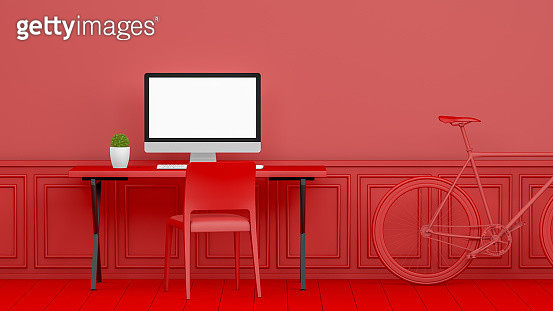 3D Abstract Workplace with Blank Screen Monitor in modern interior, Christmas Concept, Red Background - gettyimageskorea