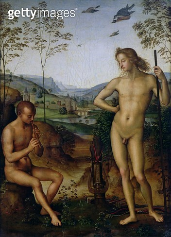 <b>Title</b> : Apollo and Marsyas, c.1509 (oil on panel)<br><b>Medium</b> : oil on canvas<br><b>Location</b> : Louvre, Paris, France<br> - gettyimageskorea