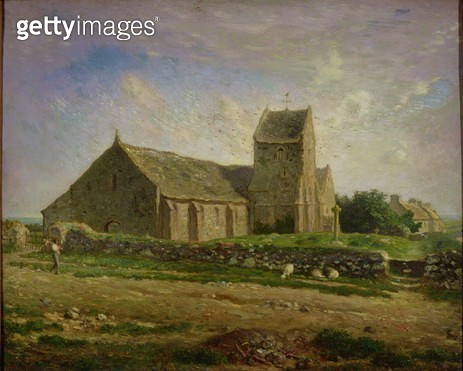 <b>Title</b> : The Church at Greville, c.1871-74 (oil on canvas)<br><b>Medium</b> : oil on canvas<br><b>Location</b> : Musee d'Orsay, Paris, France<br> - gettyimageskorea