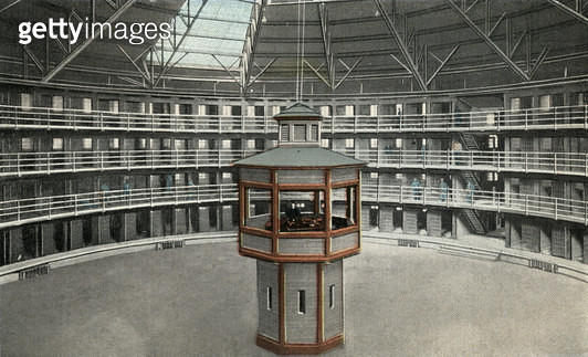 Interior view of a cell block at the Illinois State Penitentiary at Stateville, near Joliet, Illinois, USA. The prison was designed using the panopticon principle promoted by Jeremy Bentham. Cells are arranged around each block's circular perimeter, with  - gettyimageskorea