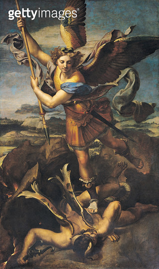 <b>Title</b> : St. Michael Overwhelming the Demon, 1518 (oil on canvas)<br><b>Medium</b> : oil on canvas<br><b>Location</b> : Louvre, Paris, France<br> - gettyimageskorea