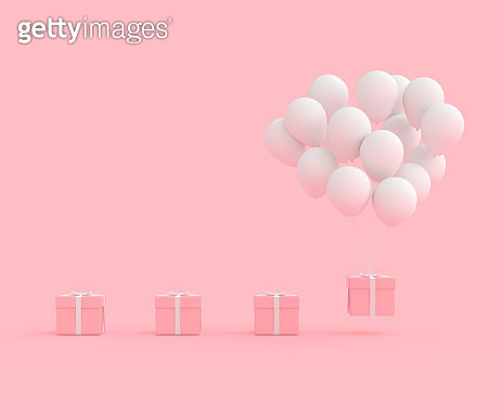 Close-Up Of Balloons And Gift Box Against Pink Background - gettyimageskorea