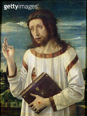 <b>Title</b> : Christ Blessing (oil on panel)<br><b>Medium</b> : oil on panel<br><b>Location</b> : Louvre, Paris, France<br> - gettyimageskorea