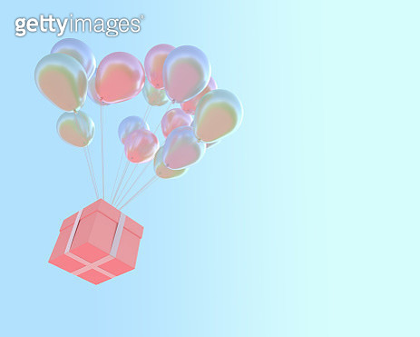 Low Angle View Of Balloons And Gift Box Flying Against Clear Sky - gettyimageskorea