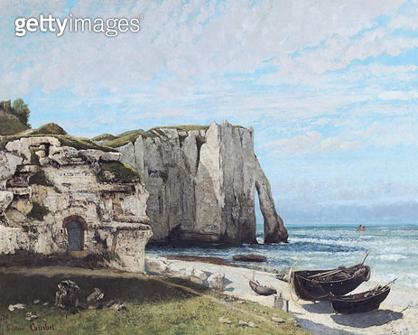 <b>Title</b> : The Cliffs at Etretat after the storm, 1870 (oil on canvas)<br><b>Medium</b> : oil on canvas<br><b>Location</b> : Louvre, Paris, France<br> - gettyimageskorea