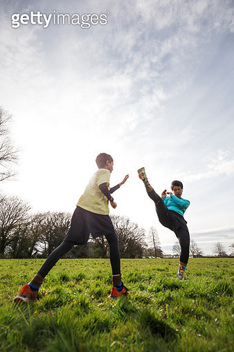 Leaning the Arts of Taekwondo in the Park - gettyimageskorea