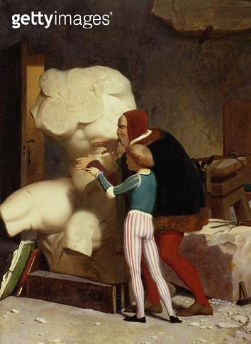 <b>Title</b> : Michelangelo (1475-1564) Showing a Student the Belvedere Torso, 1849 (oil on canvas)<br><b>Medium</b> : oil on canvas<br><b>Location</b> : Dahesh Museum of Art, New York, USA<br> - gettyimageskorea