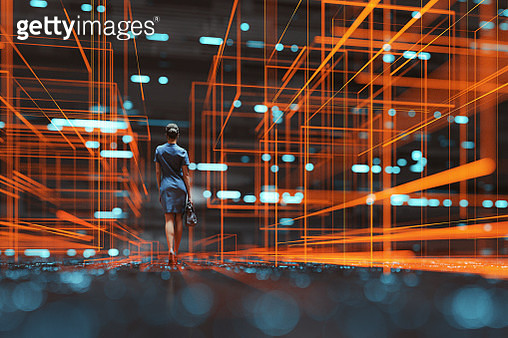 Futuristic city VR wire frame with businesswoman walking - gettyimageskorea