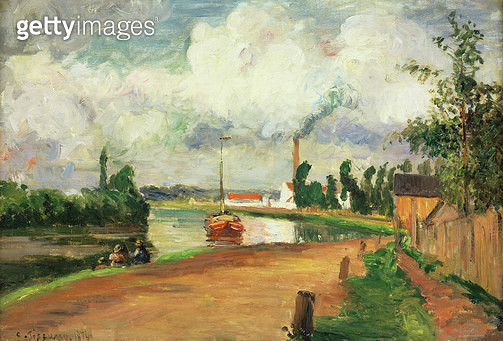 <b>Title</b> : Fishermen on the Banks of the Oise, 1876 (oil on canvas)<br><b>Medium</b> : oil on canvas<br><b>Location</b> : Private Collection<br> - gettyimageskorea