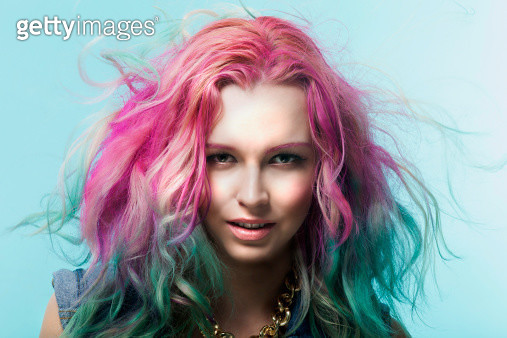 Fashion, design, designer, creative, colorful, trendy, crazy, stylish, radical, amazing, bizarre, on trend, many colors, blue lips, painted, woman, lady, model, serious, portrait, close up, face, makeup, pink, green, hair dye, smiling - gettyimageskorea