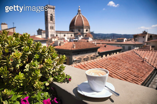 A rooftop coffee bar with a view of Duomo Santa Maria Del Fiore, Florence, Italy - gettyimageskorea
