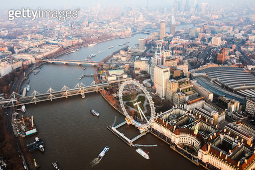 Aerial view of the London Eye on the river Thames at sunset, London, United Kingdom - gettyimageskorea