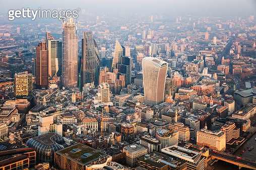 Aerial view of the City at sunset, London, United Kingdom - gettyimageskorea