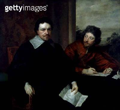 <b>Title</b> : Thomas Wentworth, 1st Earl of Strafford (1593-1641) with Sir Philip Mainwaring (1589-1661) c.1639-1640 (oil on canvas)Additional<br><b>Medium</b> : oil on canvas<br><b>Location</b> : Private Collection<br> - gettyimageskorea