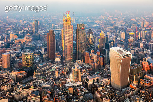 Aerial view of London financial district at sunset, UK - gettyimageskorea