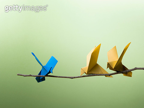 Conceptual Nature - 3 Origami Birds Sitting On A branch. - gettyimageskorea