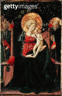 <b>Title</b> : Virgin and Child Enthroned with St. Dominic and a Papal Saint c.1433 (tempera & gold leaf on panel)Additional InfoFormerly attri<br><b>Medium</b> : tempera and gold leaf on panel<br><b>Location</b> : Samuel Courtauld Trust, Courtauld Instit - gettyimageskorea