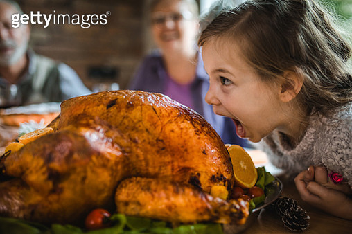 Small girl having fun while about to bite a roasted turkey on Thanksgiving. - gettyimageskorea