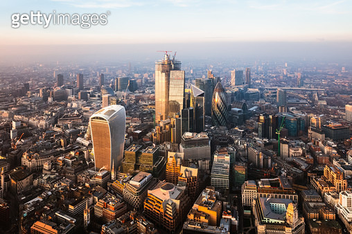 Aerial view of the City of London at sunset, England - gettyimageskorea