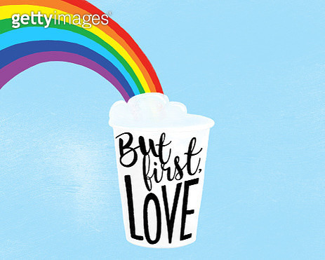 Digital drawing of a rainbow coming out of a paper coffee cup on a blue background with text representing love and LGBTQI rights. - gettyimageskorea