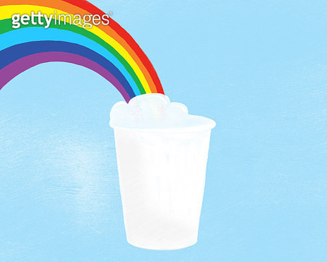 Digital drawing of a rainbow coming out of a paper coffee cup on a blue background  representing love and LGBTQI rights. - gettyimageskorea