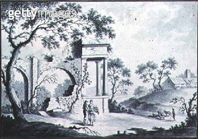 Italian Landscape with Classical Ruins and Shepherds (drawing) - gettyimageskorea