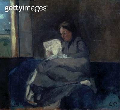 <b>Title</b> : Woman Reading (oil on canvas)Additional Infositter is Julie Vellay, maid of the artist's mother;<br><b>Medium</b> : oil on canvas<br><b>Location</b> : Private Collection<br> - gettyimageskorea