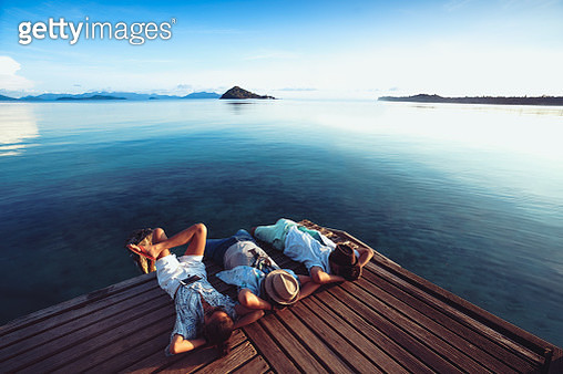 Asian family enjoying a summer vacation together - gettyimageskorea