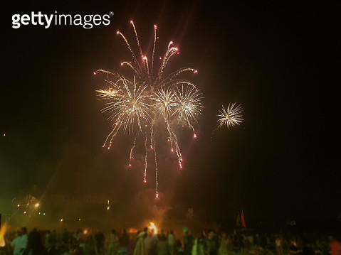 fireworks at the beach in Coruña,Spain - gettyimageskorea