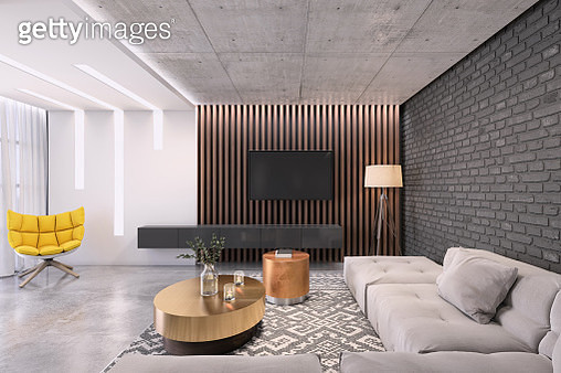Modern living room with large TV on the wall - gettyimageskorea