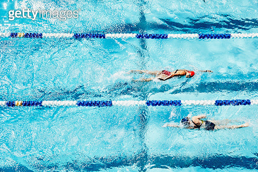 Female competitive swimmers swimming in opposite directions in outdoor pool overhead view - gettyimageskorea