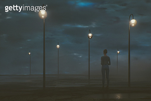 Young woman standing in wet dirt meadow at night. This is entirely 3D generated image. - gettyimageskorea