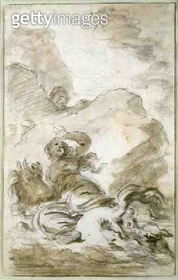<b>Title</b> : Angelica reaches the Shore Where the Hermit Lies in Wait (chalk, pen, ink and wash on paper)<br><b>Medium</b> : chalk, pen, ink and wash on paper<br><b>Location</b> : Private Collection<br> - gettyimageskorea