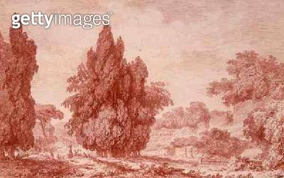 <b>Title</b> : View of a Park (red chalk on paper)<br><b>Medium</b> : red chalk on paper<br><b>Location</b> : Private Collection<br> - gettyimageskorea