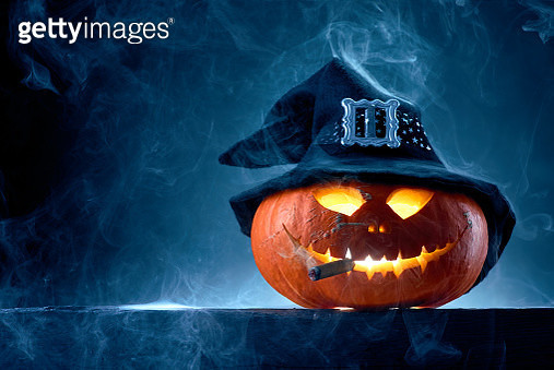 Halloween pumpkin in moonlight and smoke on the table - gettyimageskorea